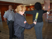 Citizen being searched before courthouse entry